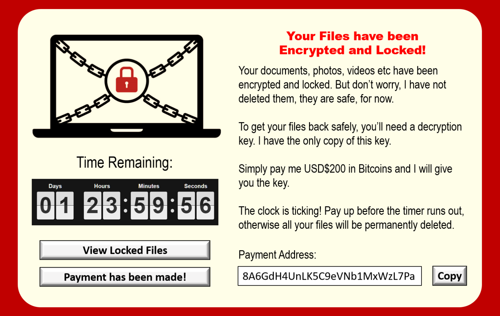 Ransomware splash screen preventing user's access to device